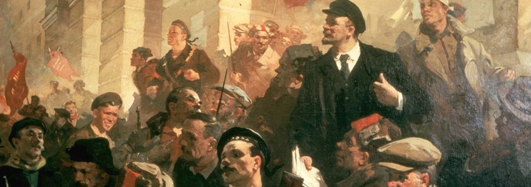 Illustration de Lénine lors d'une assemblée